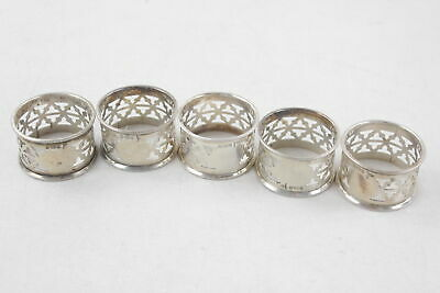5 x Antique Hallmarked 1905 .925 STERLING SILVER Napkin Rings (112g)
