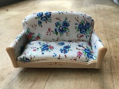 Sylvanian Families SPARES Settee Sofa Floral Blue White Living Room Furniture