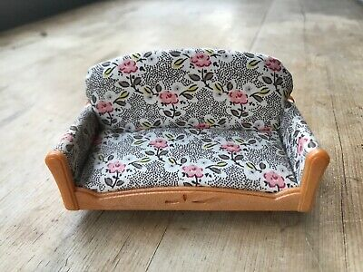 Sylvanian Families SPARES Settee Sofa Floral Brown White Living Room Furniture