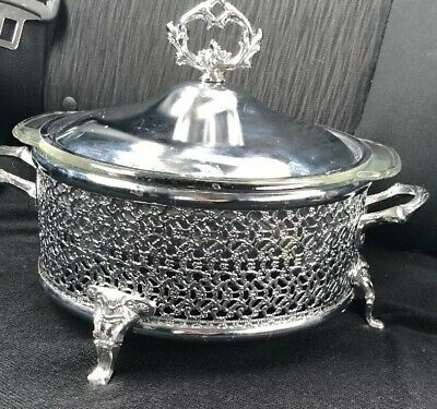 ANCHOR HOCKING, FIRE KING, 2 QT OVENWARE INSIDE A ENGLISH SILVER CHAFER Wedding