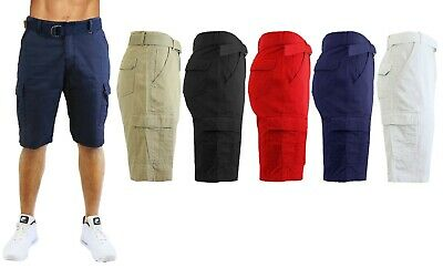Mens Cotton Belted Cargo Shorts Vintage Distressed Lounge Hiking Sizes 30-48 NEW