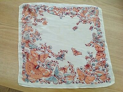 Antique ladies handkerchief butterfly pattern