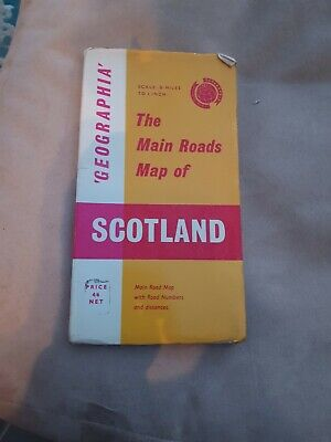 Vintage Geographia The Main Roads Of Scotland Pull Out Map