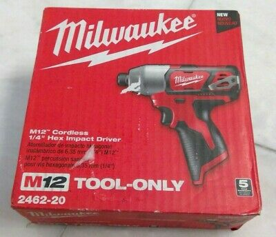 "🌟🎈 Milwaukee 2462-20 M12 Cordless 1/4"" Hex Impact Driver (Tool Only) 🌟"