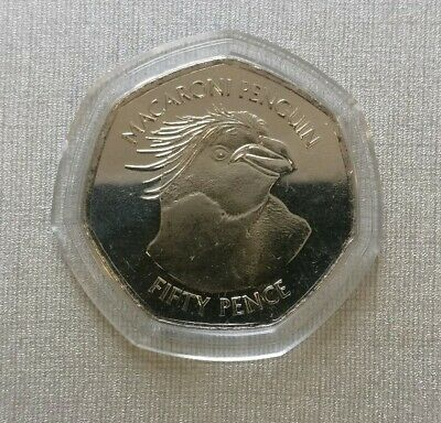 2018 Falkland Islands Unc Macaroni Penguin 50p in a 7-sided capsule