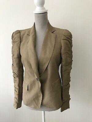 Zara Womens Cream Collarless Jacket Size S Women's Clothing