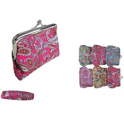6 pieces Paisley Polyester Kiss Lock Wallet Coin Change Key Case Bag Purse Lot