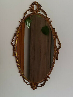 Antique French Style Metal Gold Ornate Oval Wall Mirror 31''/79cm x 19.5''/50cm