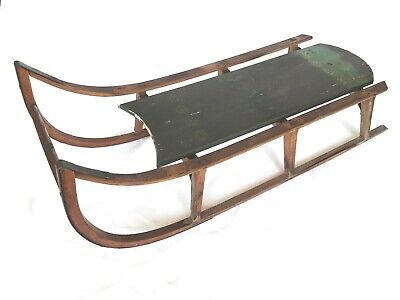 Antique Paris MFG Co. #54 Wooden Sled Teal Horse, Yellow Flowers