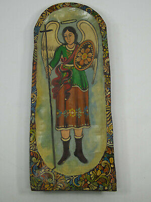 Hand painted wood dough bowl with saint michael archangel, mexican folk art