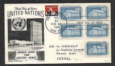 United Nations Old Airmail Cover World Hope For Lasting Peace Great Franking