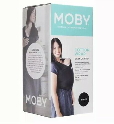 New Authentic Moby Wrap Classic Carrier Black 100% Cotton Baby Wearing