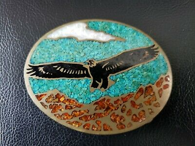 Eagle Turquoise & Coral - Vintage Pewter Brass Belt Buckle 1981