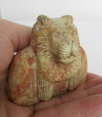 "2 1/4"" ANTIQUE EGYPTIAN CARVED STONE LION ARTIFACT CAT 136 Grams"