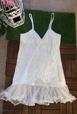 Victoria's Secret Babydoll Lingerie Womens White Size Small Union Made ILGWU