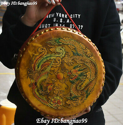 """11"""" Old Wood Lacquerware Dragon Phoenix Play Bead Drum Musical Instrument Statue"""
