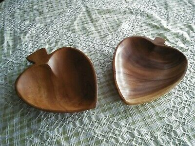 2 Vintage Monkeypod Heart Leaf Dishes 1970s nice grain hand carved small dishes
