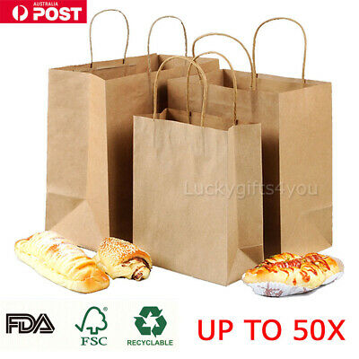 UP 50X Kraft Paper Bags Bulk Gift Shopping Carry Craft Brown Bag with Handles AU