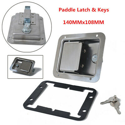 Stainless Steel Paddle Latch 140MMx108MM & Keys for Cabinet Truck Tool Box Safe