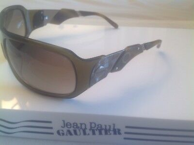 Vintage Jean Paul Gaultier Sjp567 Col09Hf Olive Green/Silver Horn Look Sunglass