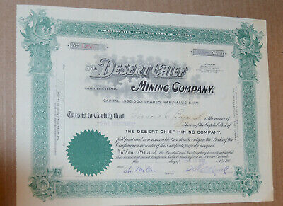 The Desert Chief Mining Company 1907 antique stock certificate