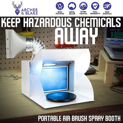 Portable LED Airbrush Paint Spray Booth Kit Exhaust Filter Extractor Set Model