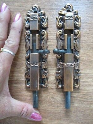 pair ivy brown strong lock tool slide latchs bolts door hasps diecast iron 5inch