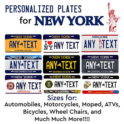 NEW YORK Personalized Custom License Plate Tag for Auto Car Bicycle ATV Bike etc