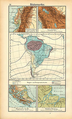 1908 Map ~ South America ~ Rainfall & Temperature Highlands Of Quito Titicaca