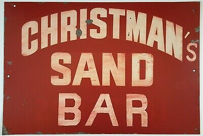 Christman Sand Bar Vintage Metal Sign  Beach Dive Tavern Restaurant