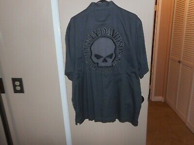 d3f8da89 Men's Harley-Davidson Gray Performance Willie G Skull Black Label Shop  Shirt XL