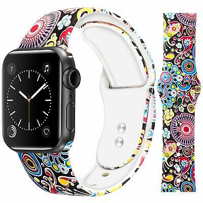 Floral Printed Silicone Strap Watch Band for Apple Watch 38mm/40mm 42mm/44mm