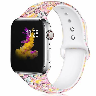 Silicone Pattern Printed Replacement Bands Watch Strap for iWatch Series 4/3/2/1