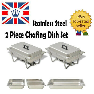 2 pcs Chafing Dish Stainless Steel Lid Food Warm Water Pan Stand Burner Catering