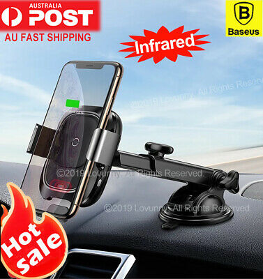 Baseus 10W Fast Qi Wireless Charger Car Mount Phone Holder iPhone 11 Pro X Max