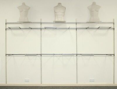 Shop Retail Clothing Wall Display System (Each 1.2 Metre Linear Bay) X 10 Bays