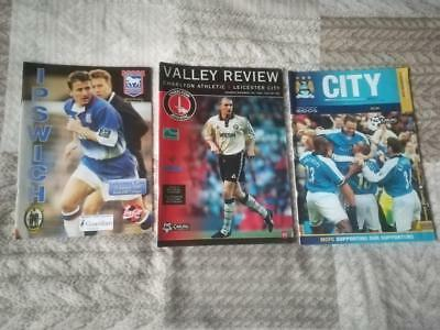 IPSWICH TOWN, CHARLTON ATH, MANCHESTER CITY v LEICESTER CITY  x 3  PROGRAMMES
