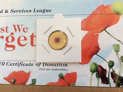 2012 $2 Remembrance red poppy coin UNC with paint error 3 and RSL donation card
