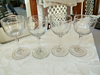 Set of 4 Antique Sherry /Liqueur / Small Wine Glasses, Hand etched