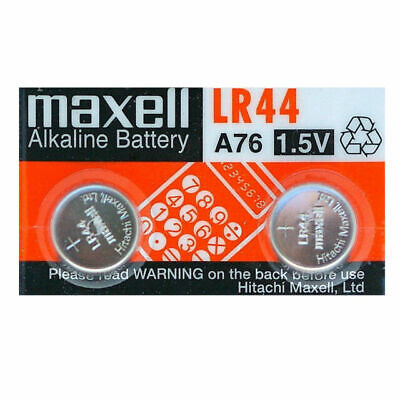 2x Maxell LR44 / A76 Alkaline Coin Cell Button 1.55V Batteries Melbourne Stock