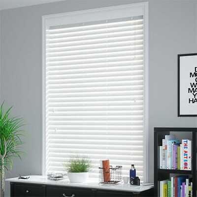 8 Bright White Faux Wooden Blinds - 50mm slats