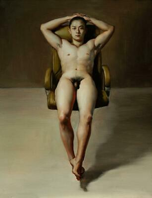 Hand-painted original Oil painting Portrait art Chinese male nude on canvas