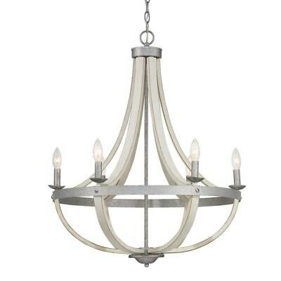 Progress Lighting Keowee 6-Light Galvanized Chandelier with Antique White Wood