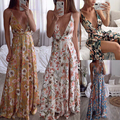 Sexy Deep V-Neck Sleeveless Lady Floral Summer Cocktail Evening Party Maxi Dress