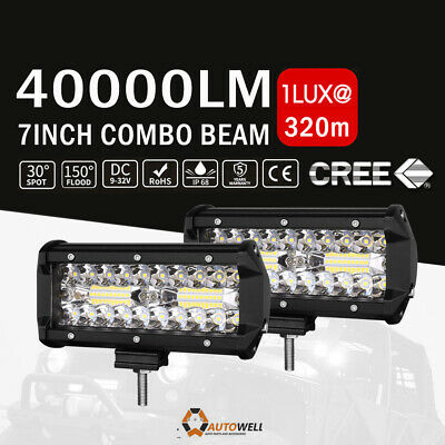 7inch LED Light Bar Tri Row Spot Flood Cmobo Offroad ATV SUV Driving Reserve 4WD