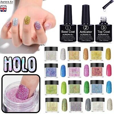 DIPPING NAIL POWDER HOLOGRAPHIC LASER Dip System KIT Set 13 COLOURS UK Aurora A+