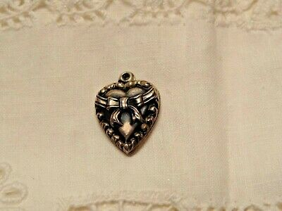VINTAGE STERLING SILVER PUFFY HEART CHARM - Bow Tied Around the Heart