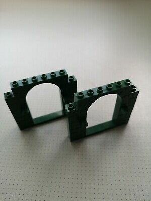 40242 2 x Door Frame Black with Stone Pattern and Clips GMT82 Lego