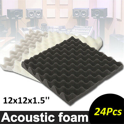 24Pcs Acoustic Foam Soundproofing Studio Tiles Egg Panel Absorption 30x30x4cm