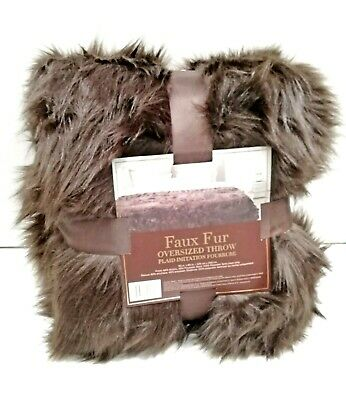 "Luxury Faux Fur Blanket Oversized Throw Long-Hair 90"" x 80"" (228cm x 203cm)"